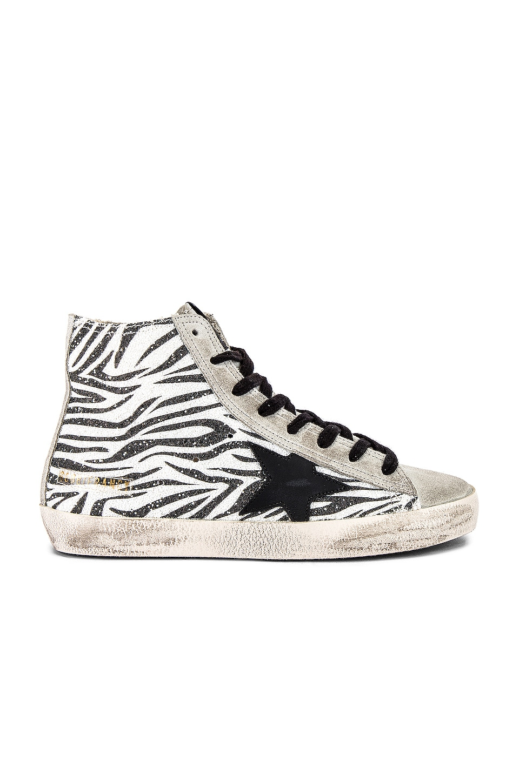 Golden Goose Francy Sneaker in Zebra Glitter & Black Star