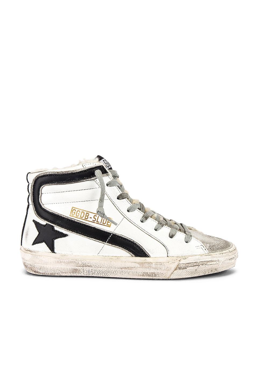Golden Goose Slide Sneaker in White Shearling & Black Star