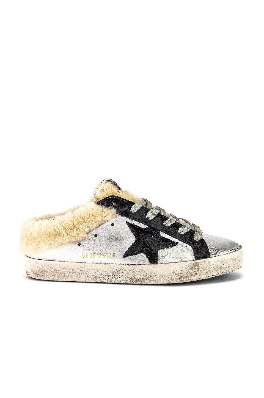 Golden Goose Superstar Sabot Sneaker in Silver, Black Leather & Shearling