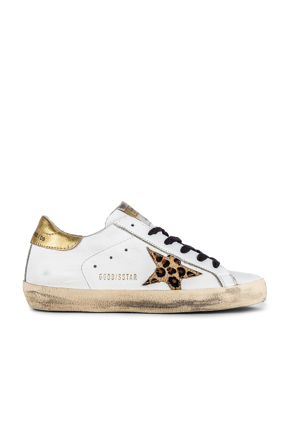 Golden Goose Superstar Sneaker in White Leather, Gold & Leopard