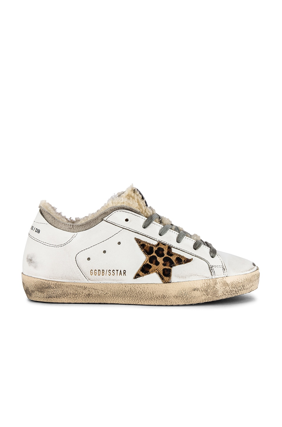 Golden Goose Superstar Sneaker in White & Leopard