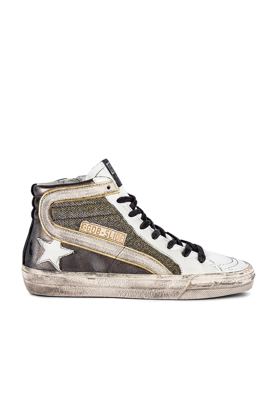 Golden Goose Slide Sneaker in Gun Metal, Shimmer & White
