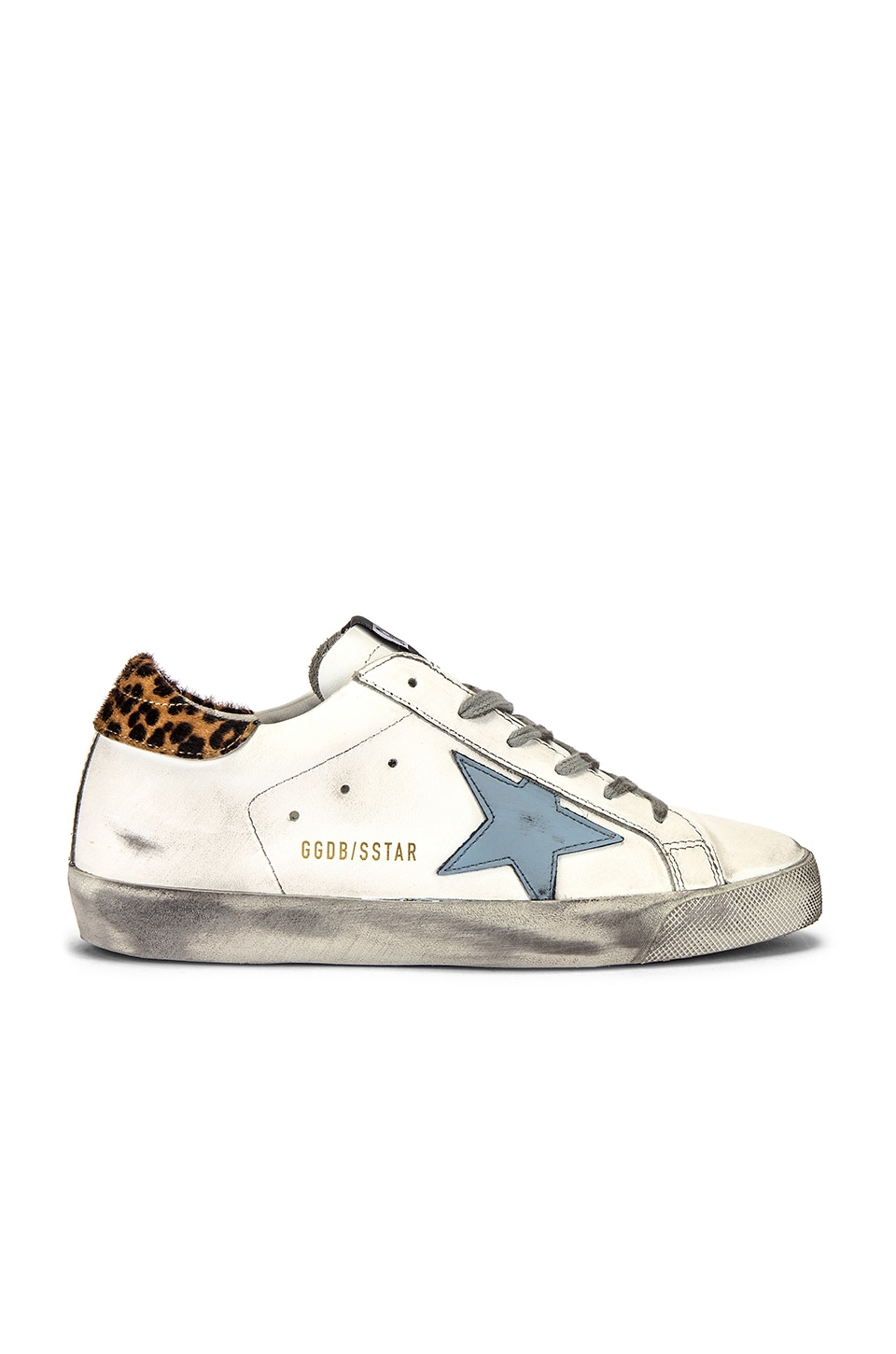 Golden Goose Superstar Sneaker in White, Leopard & Night Blue