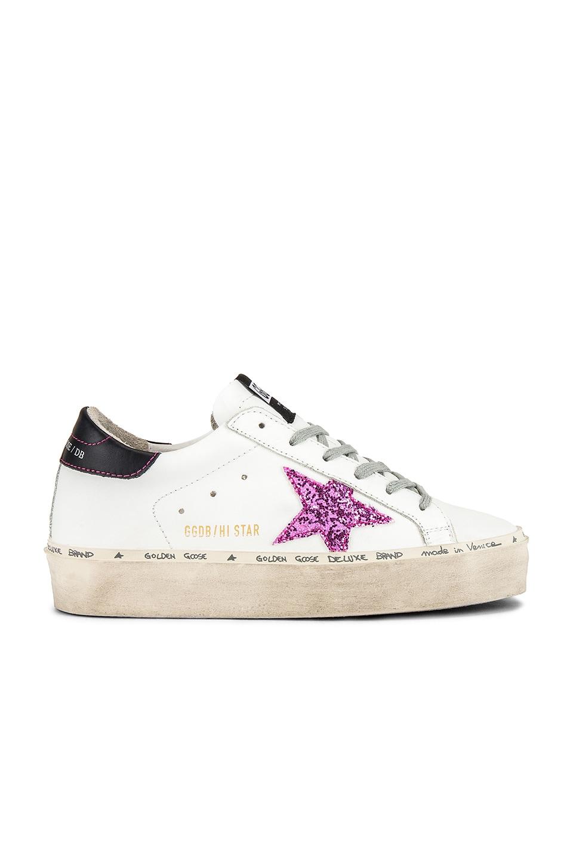 Golden Goose Hi Star Sneaker in White, Black & Pink Glitter