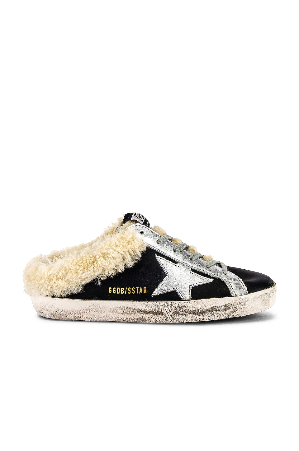 Golden Goose Sabot Superstar Sneaker in Black & Silver