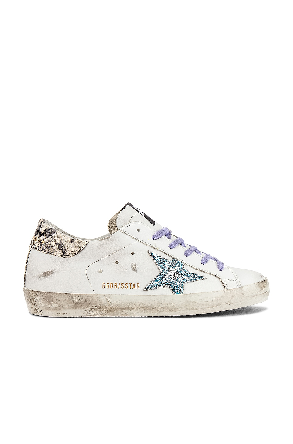 Golden Goose Superstar Sneaker in White, Glitter Star & Aqua