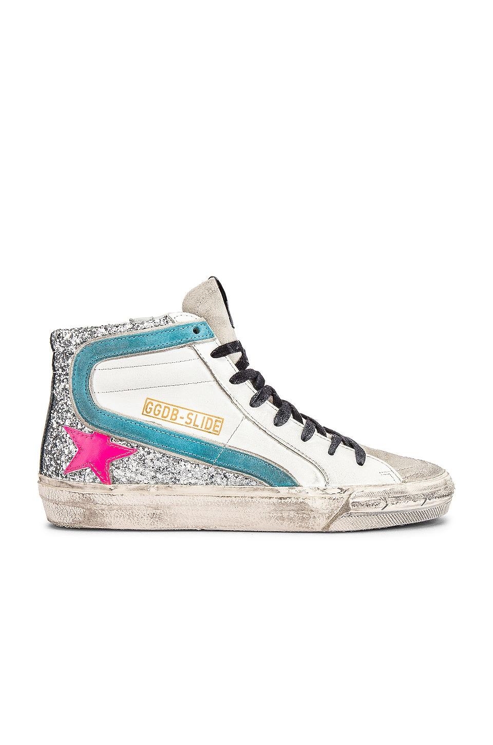 Golden Goose Slide Snaker in White, Silver Glitter & Fuchsia Star