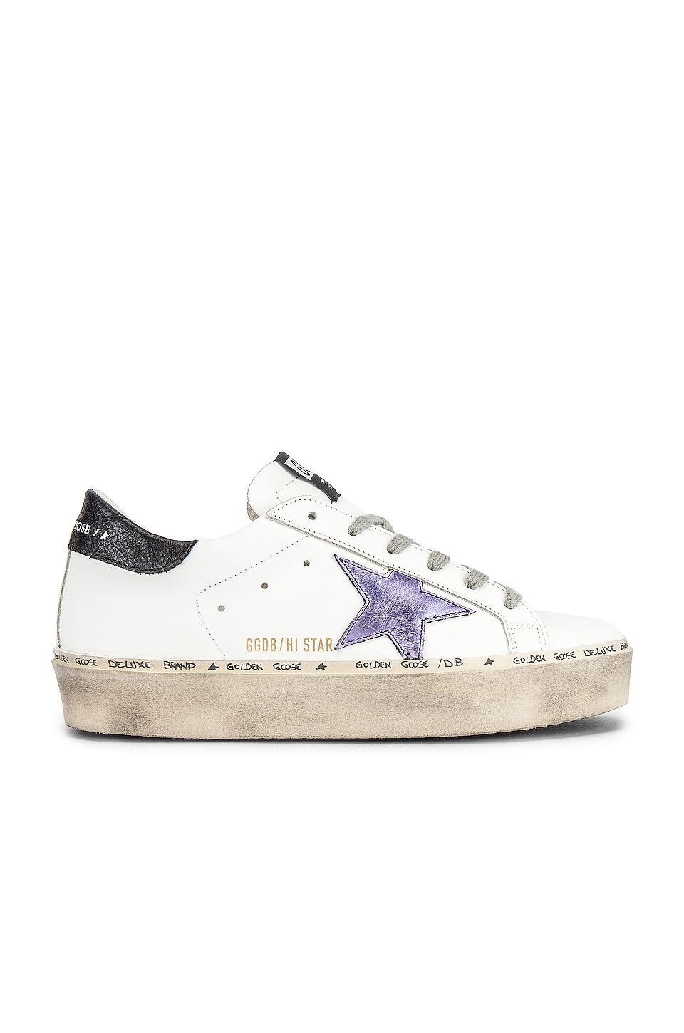 Golden Goose Hi Star Sneaker in White & Lilla Laminated Star