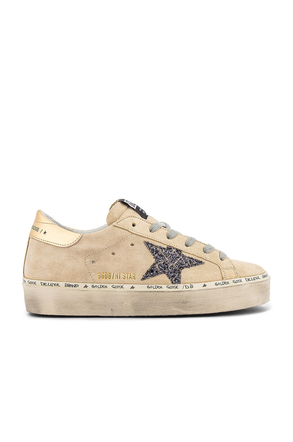 Golden Goose Hi Star Sneaker in Pearl Suede & Cocco Glitter Star
