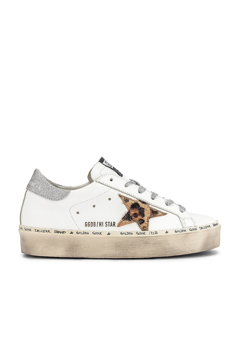Golden Goose Hi Star Sneaker in White Leather, Leopard & Lurex Lace