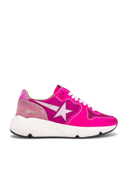 Golden Goose Running Sole Sneaker in Fuchsia Suede, Pink Star & Glitter