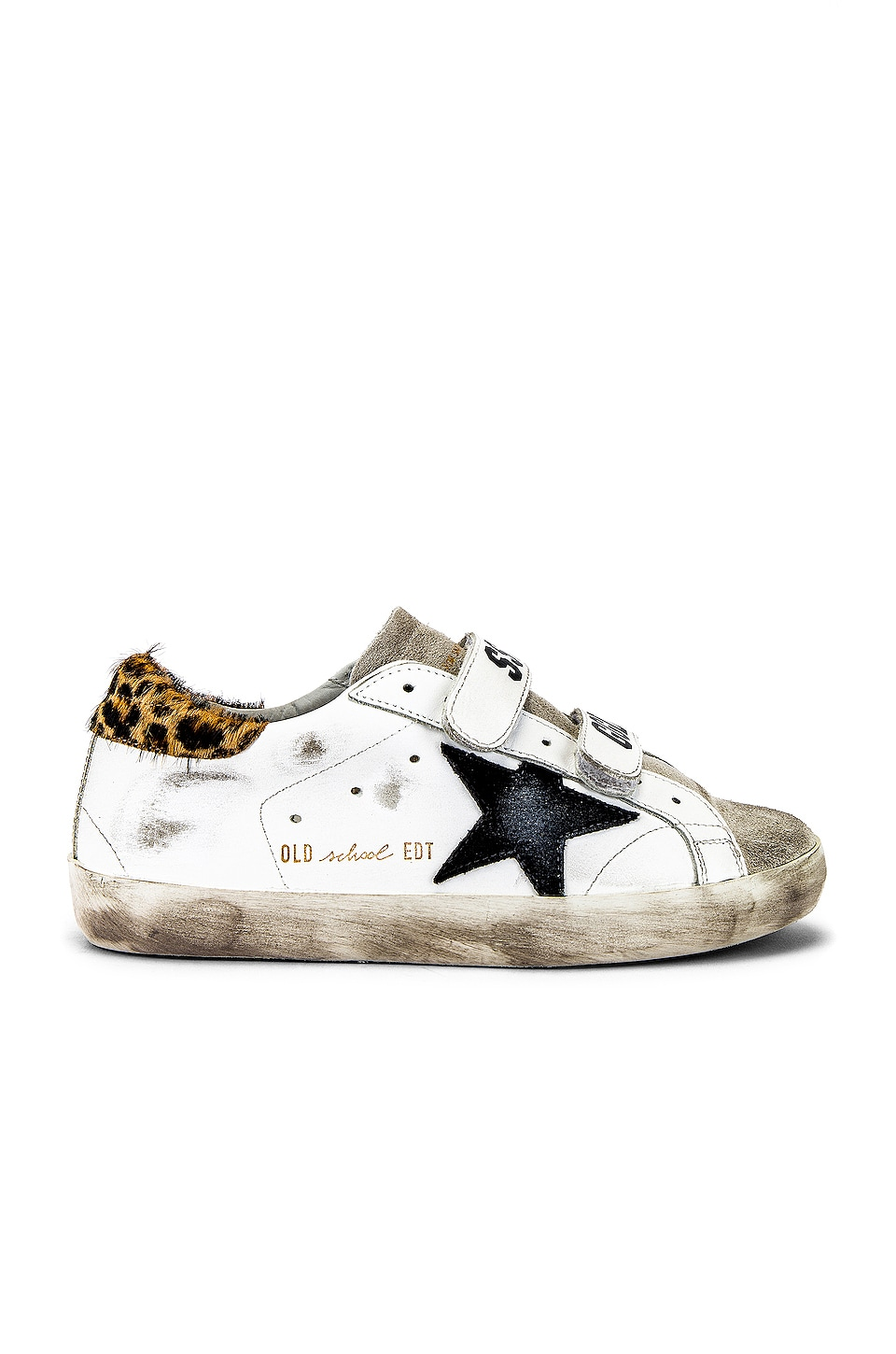 Golden Goose Old School Sneakers in White Leather & Leopard Pony