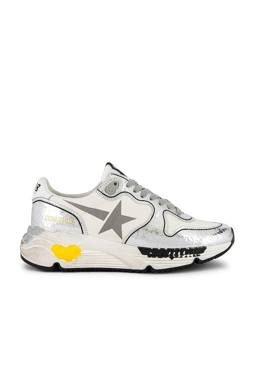 Golden Goose Running Sole Sneaker in White & Silver Crack