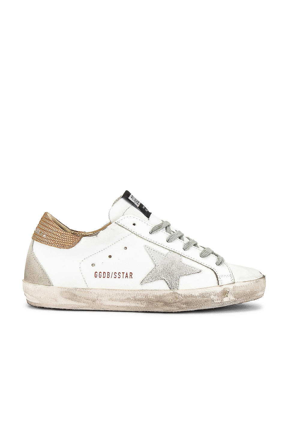 Golden Goose Superstar Sneakers in White, Light Brown Lizard & Suede Star