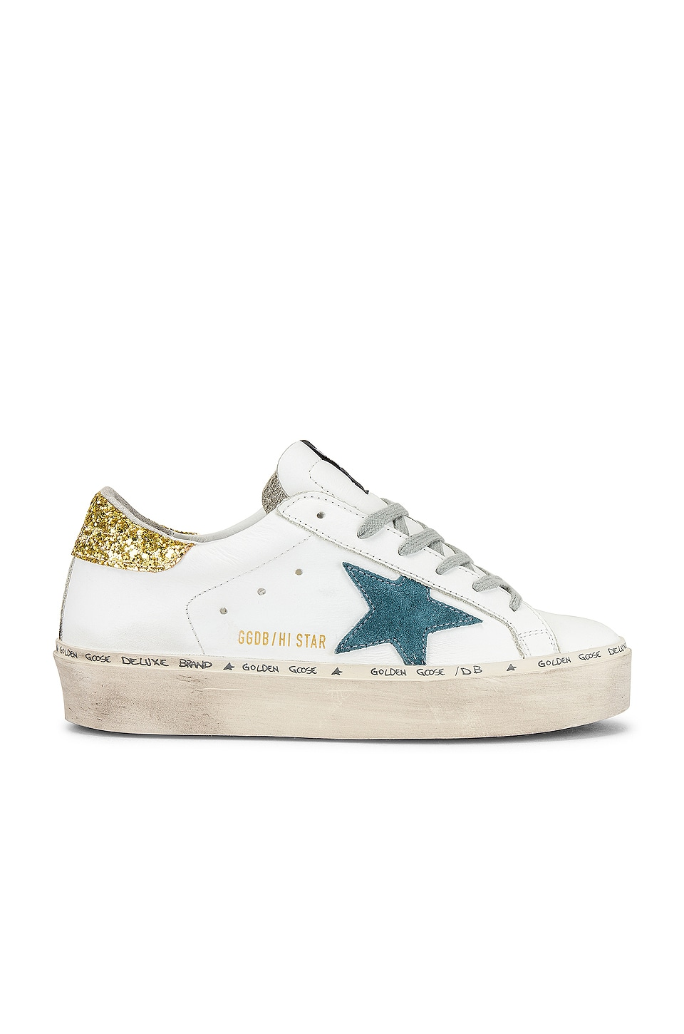 Golden Goose Hi Star Sneaker in White, Petrol Star & Gold Glitter
