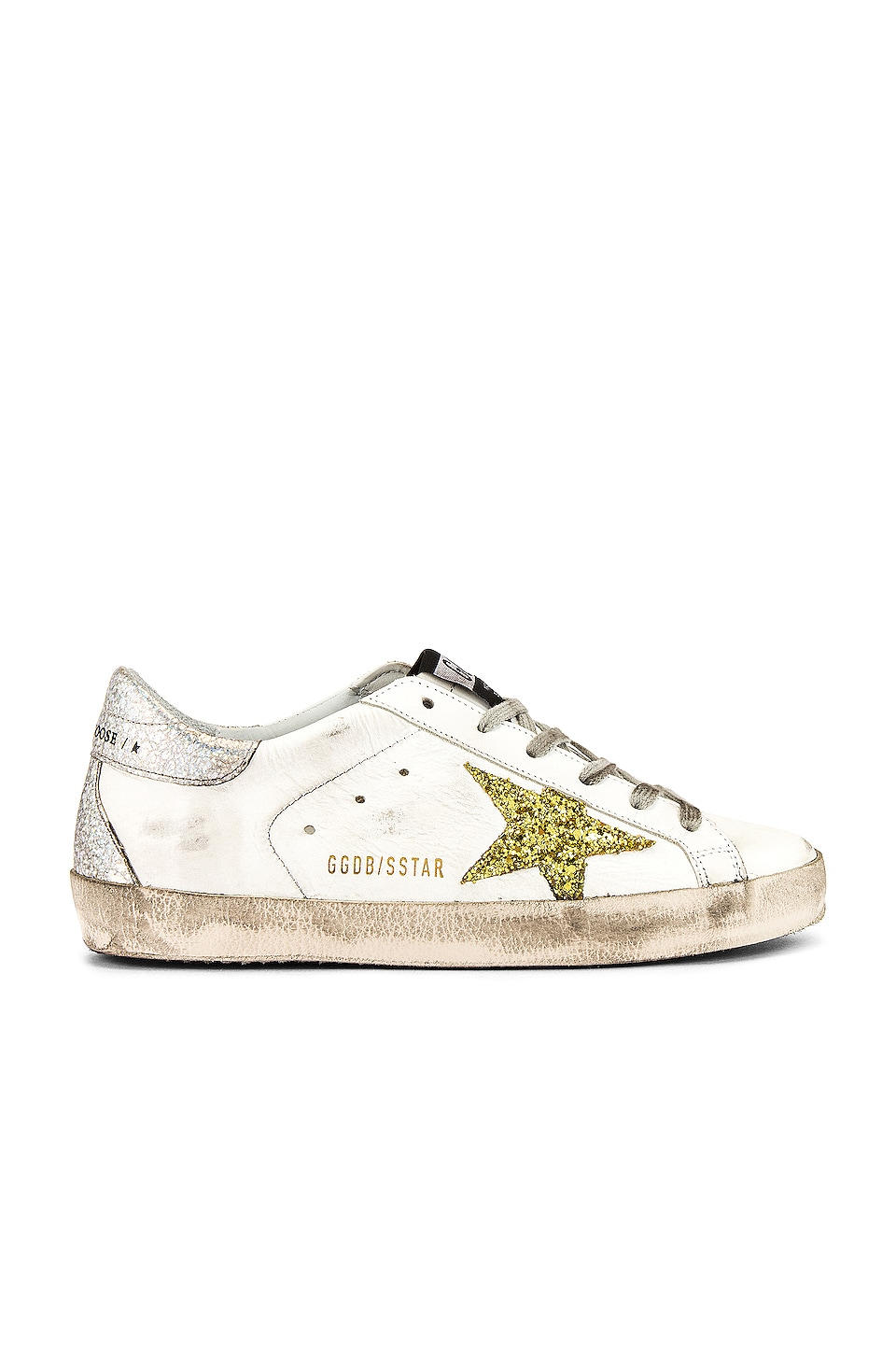 Golden Goose Superstar Sneaker in White, Gold Glitter & Silver