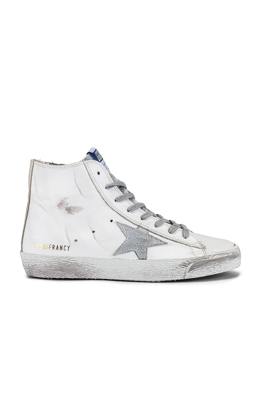 Golden Goose Francy Sneaker In White, Silver & Milk