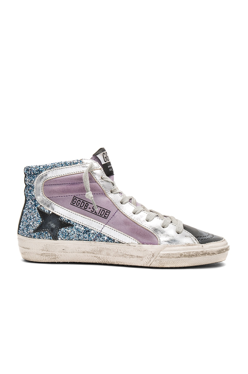 Golden Goose Slide Sneaker in Blue Glitter & Lilac Suede