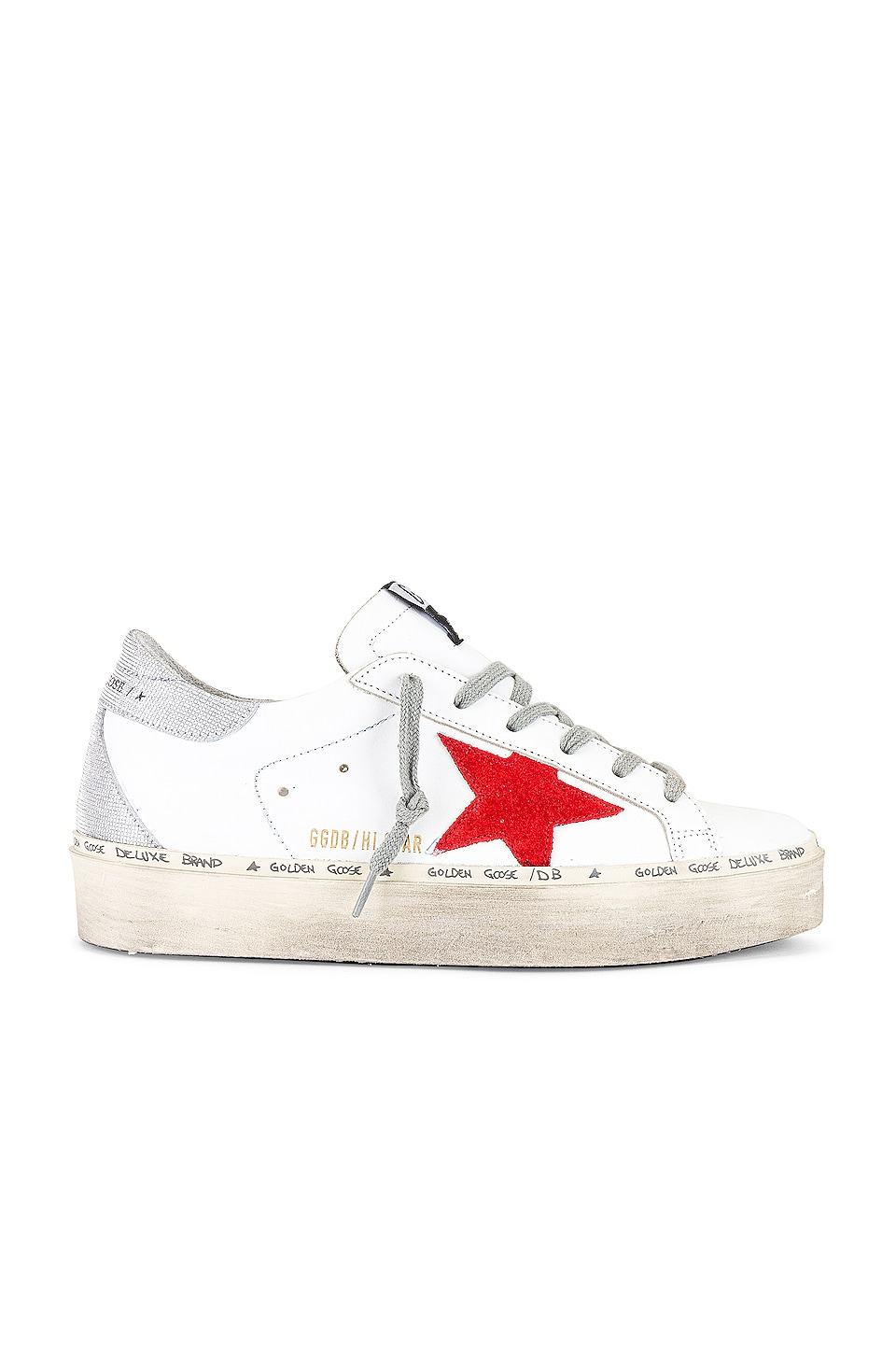 Golden Goose Hi Star Sneaker in White, Ruby Red & Silver