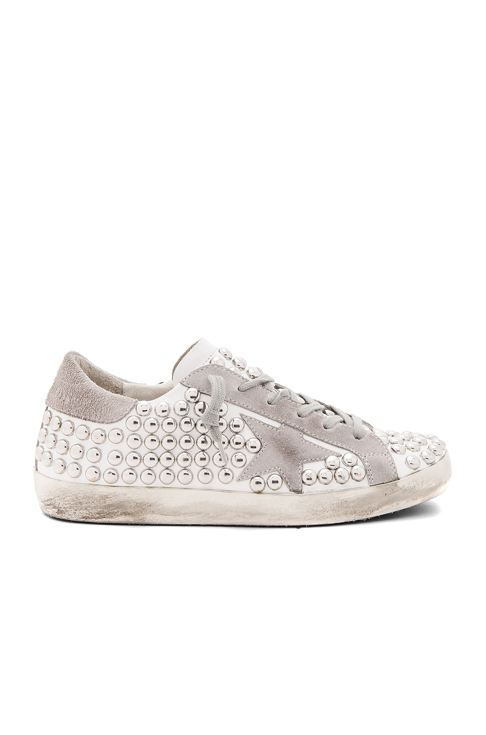 Golden Goose Old Superstar Sneaker in White Studs