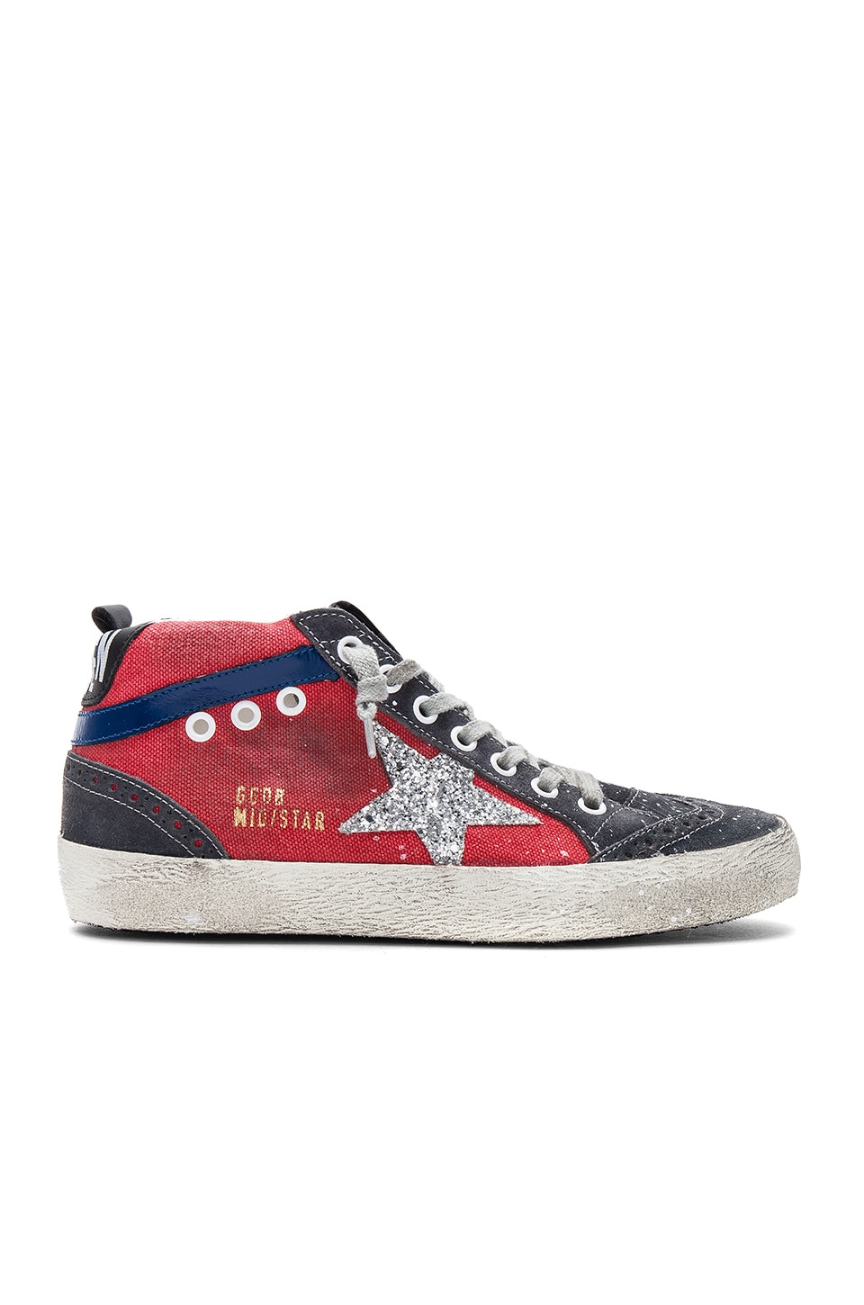 Golden Goose Mid Star Sneaker in Red Canvas & Glitter Star