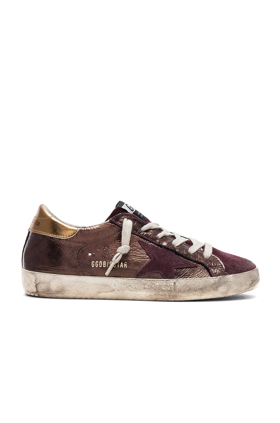 Golden Goose Superstar Sneaker in Bronze & Purple Star
