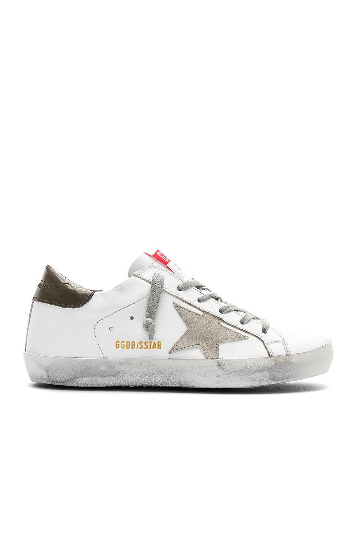 Golden Goose Superstar Sneaker in White & Military Green
