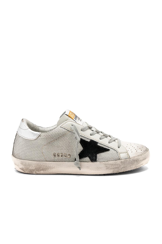 Golden Goose Superstar Sneaker in White Cord & Silver Lurex