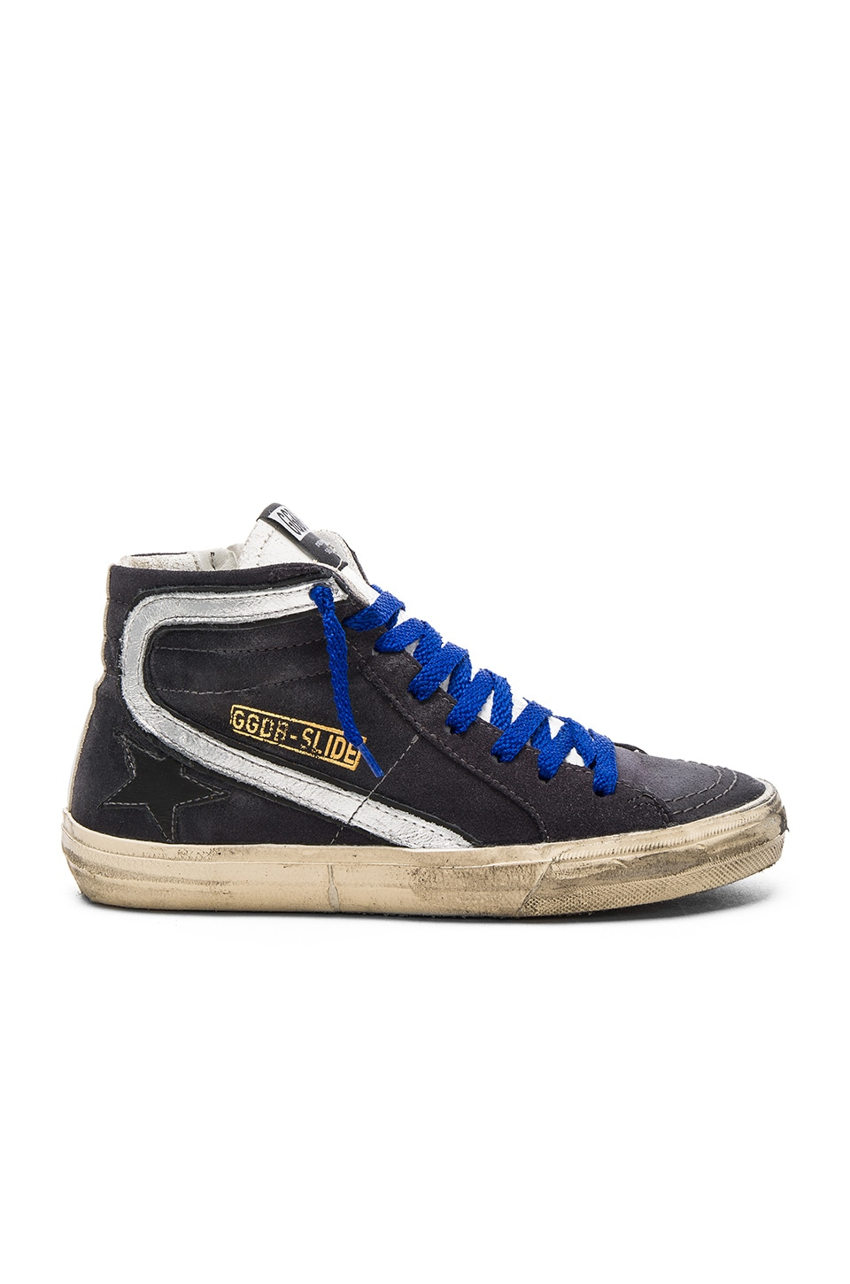 Golden Goose Slide Sneaker in Dark Grey Suede & Silver Star