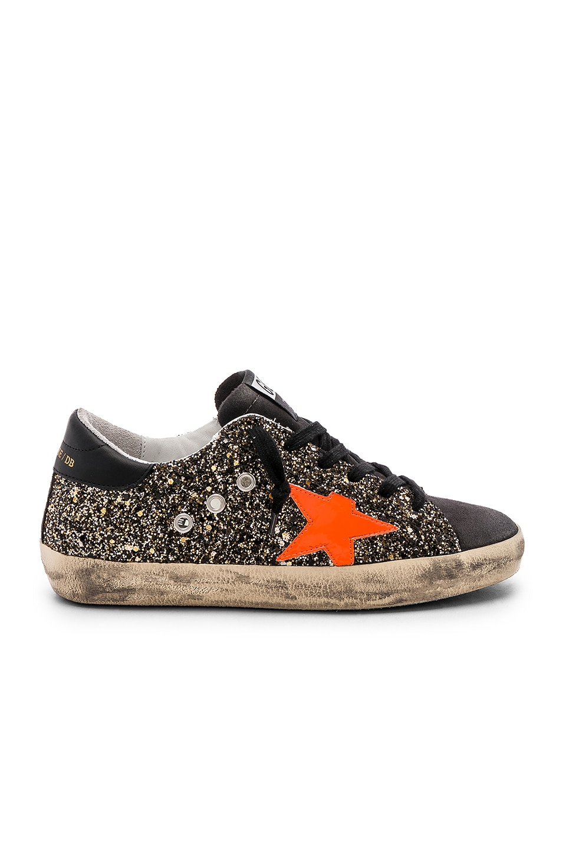 7d65f28e18c4 Golden Goose Superstar Sneaker in Black Gold Glitter   Fluo Star ...