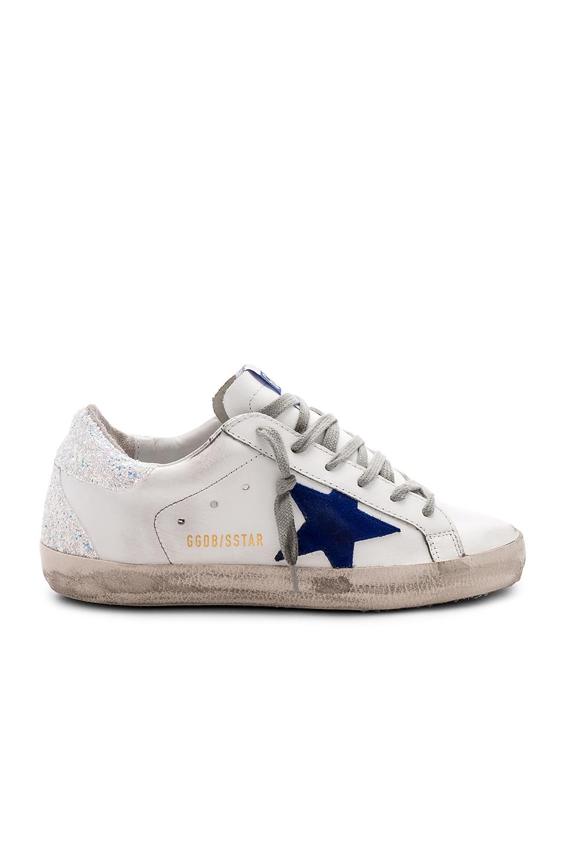 Golden Goose Superstar Sneaker in White Iridescent & Blue Star