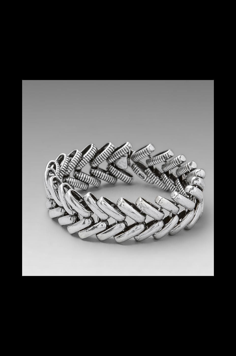 Giles & Brother Giles Wide Ceres Bracelet in Antique Silver & Black Diamond