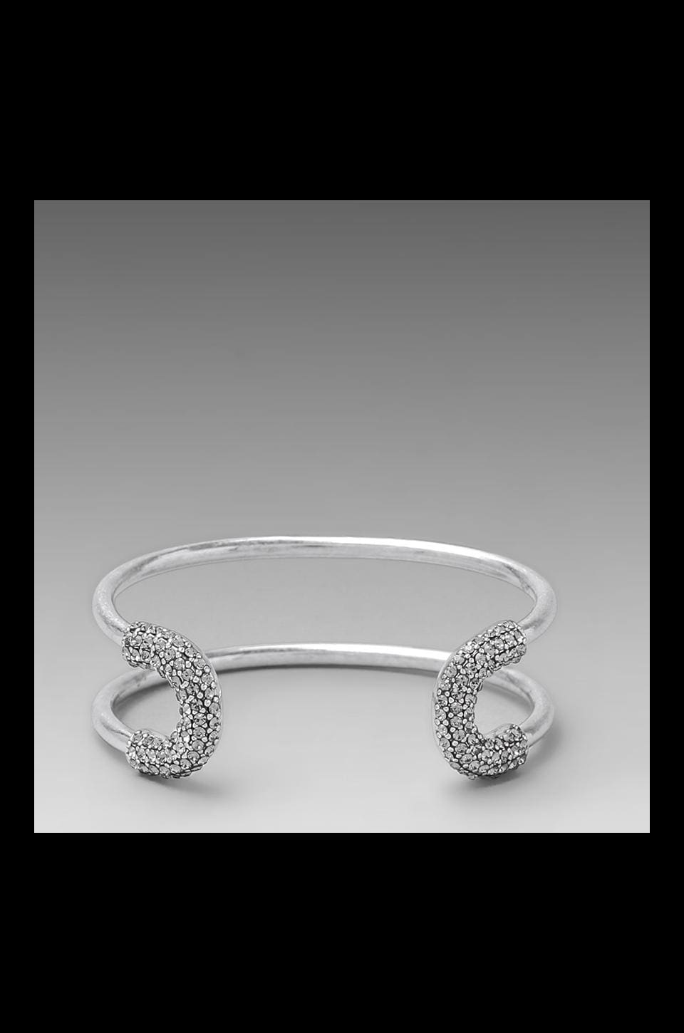 Giles & Brother Giles Encrusted Skinny Cortina Cuff in Antique Silver & Black Diamond