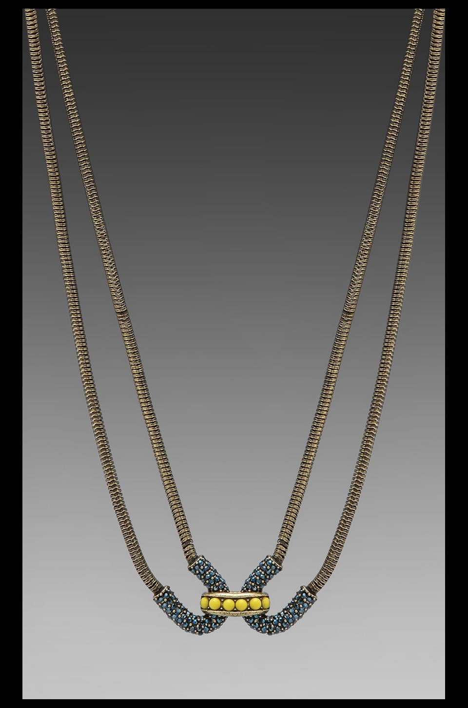 Giles & Brother Giles Encrusted Double Cortina Necklace in Citron & Crystal Metallic Blue