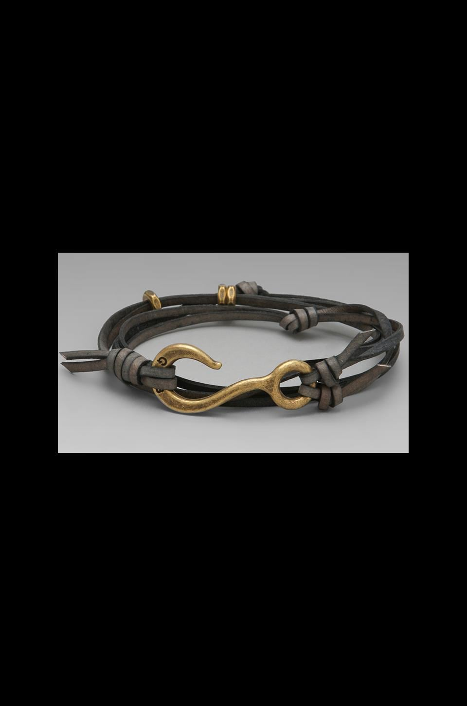 Giles & Brother Hook Bracelet with Leather Lashing in Brass and Antique Grey Leather