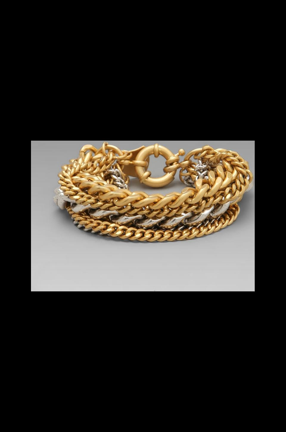 Giles & Brother Multi Chain Bracelet in 10K Gold Finish and Silver Finish