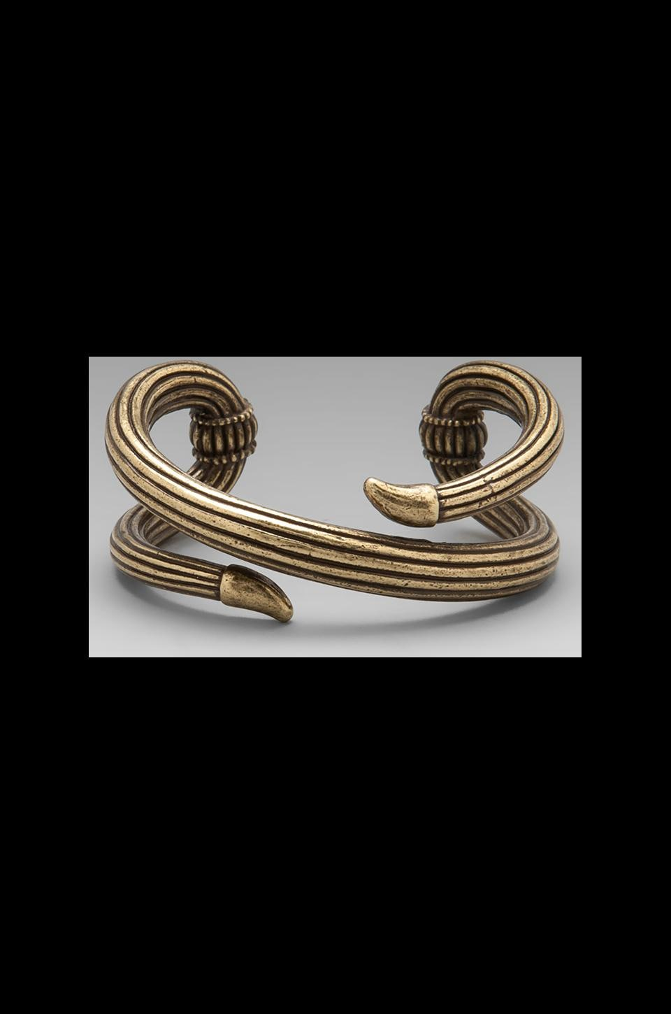 Giles & Brother Serpent Cuff in Antique Brass