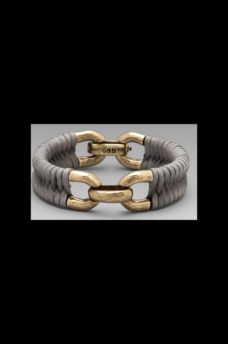 Giles & Brother Double Cortina Bracelet in Antique Brass with Slate Leather