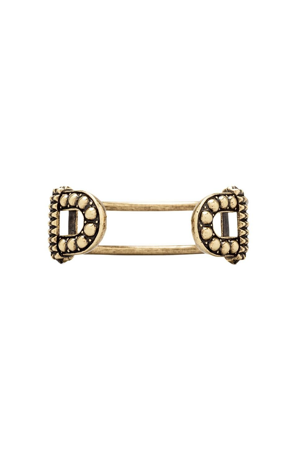 Giles & Brother Skinny Textured Cortina Cuff in Antique Brass