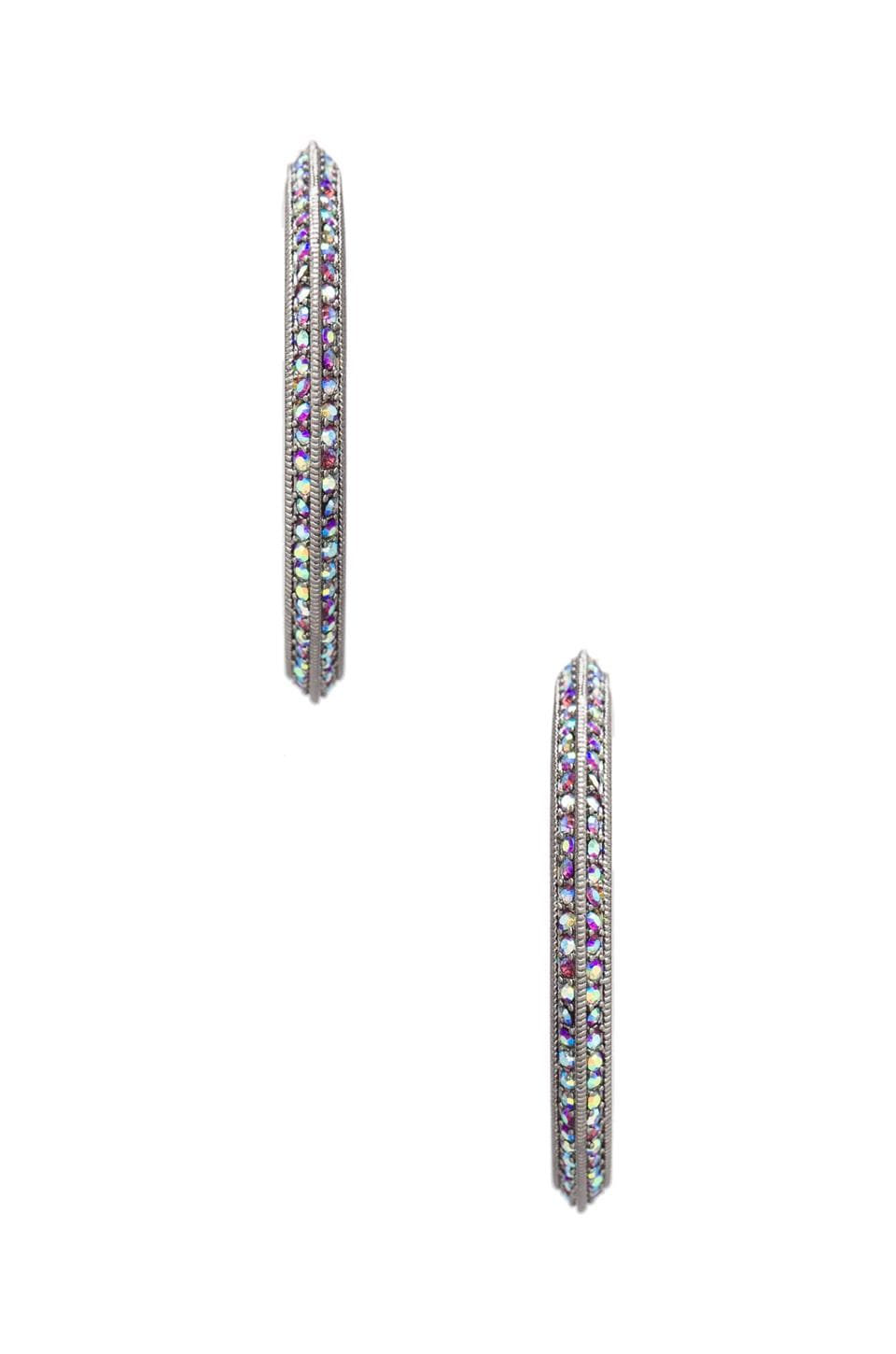 Giles & Brother Pave Pyramid Hoop in Hematite/Iridescent Amethyst