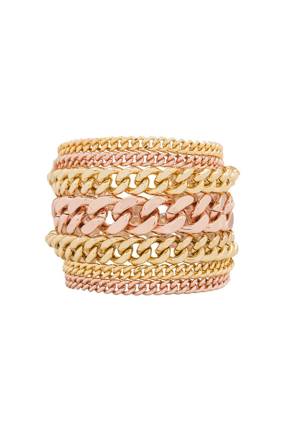 Giles & Brother Multi Chain Bracelet in Rose Gold/Gold