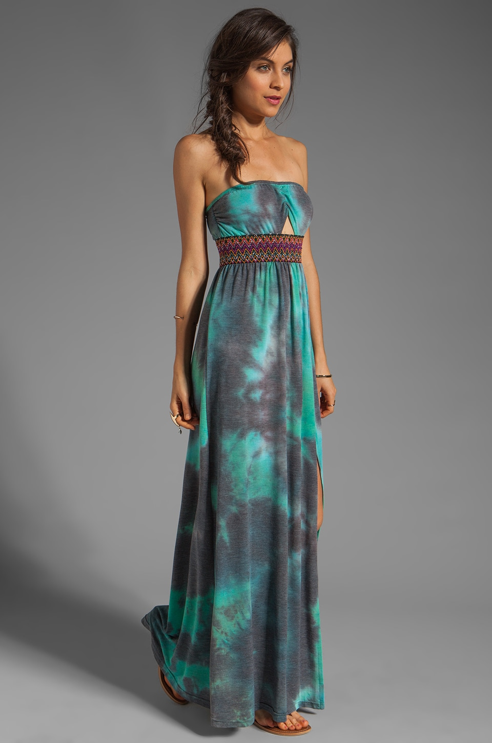 Gypsy Junkies Talulah Maxi Dress in Teal Tie Dye