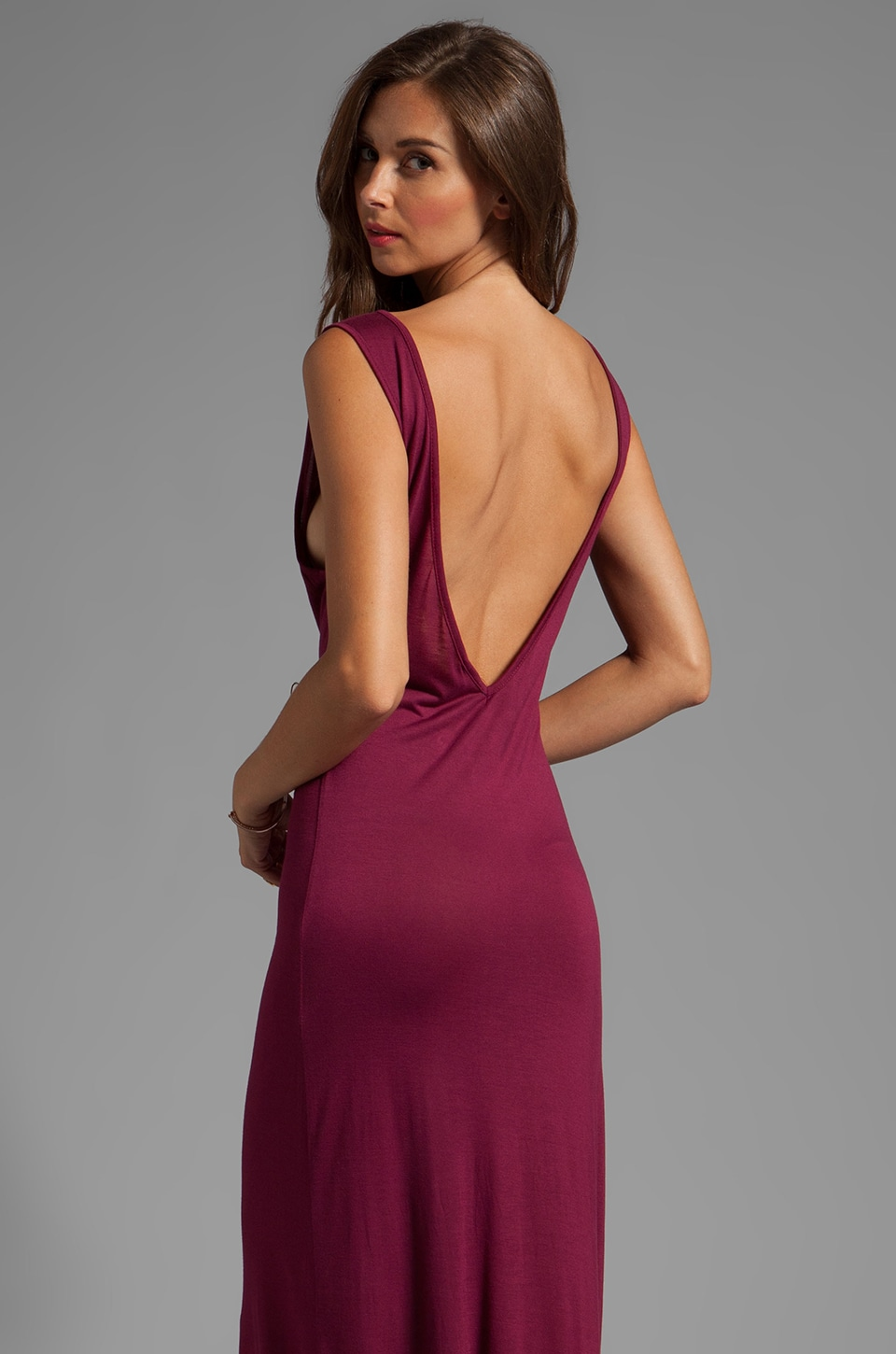 Gypsy Junkies Everyday Backless Tank Maxi Dress in Berry