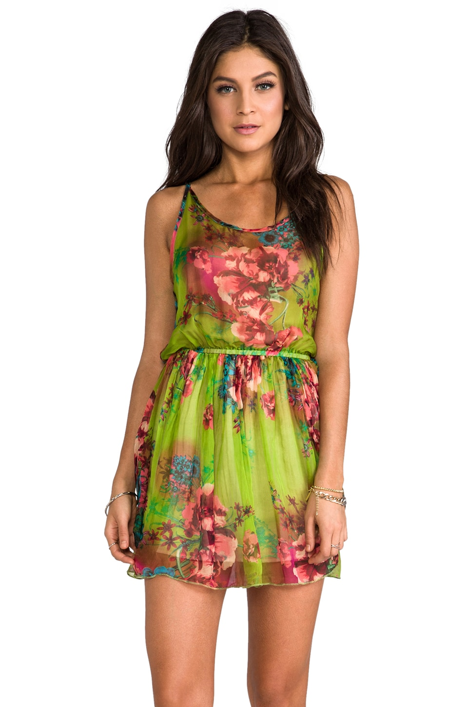 Gypsy Junkies Haze Pleated Mini in Lime Neon Bloom
