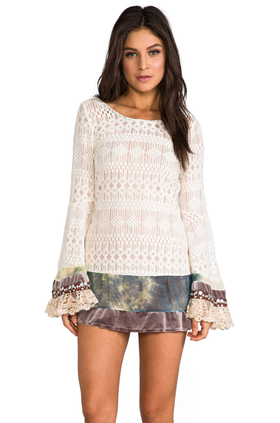 Gypsy Junkies Mimi Mini Lace Dress w/ Bell Sleeves in Boheme Natural