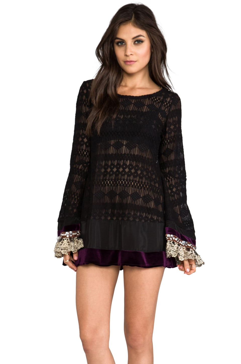 Gypsy Junkies Mimi Mini Lace Dress w/ Bell Sleeve in Boheme Black