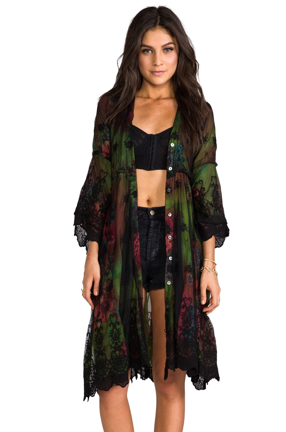 Gypsy Junkies Sissy Long Cardigan in Neon Bloom