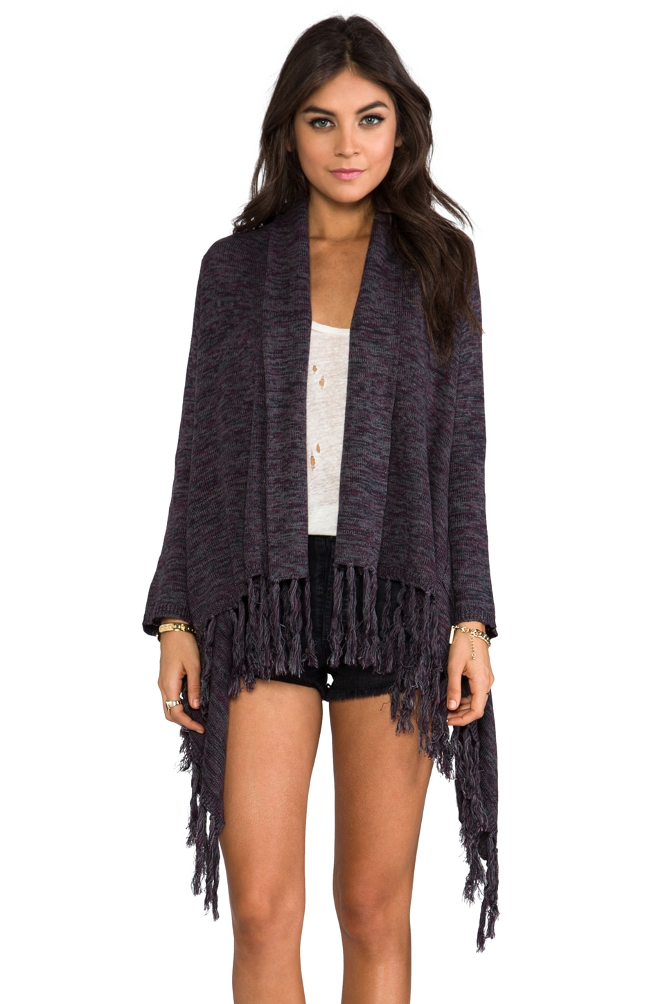 Gypsy Junkies Formosa Fringe Sweater in Heather