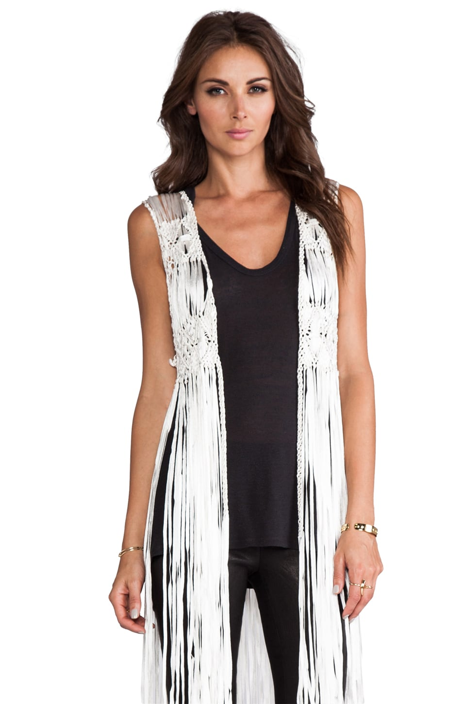 Gypsy Junkies Faye Fringe Vest in Natural