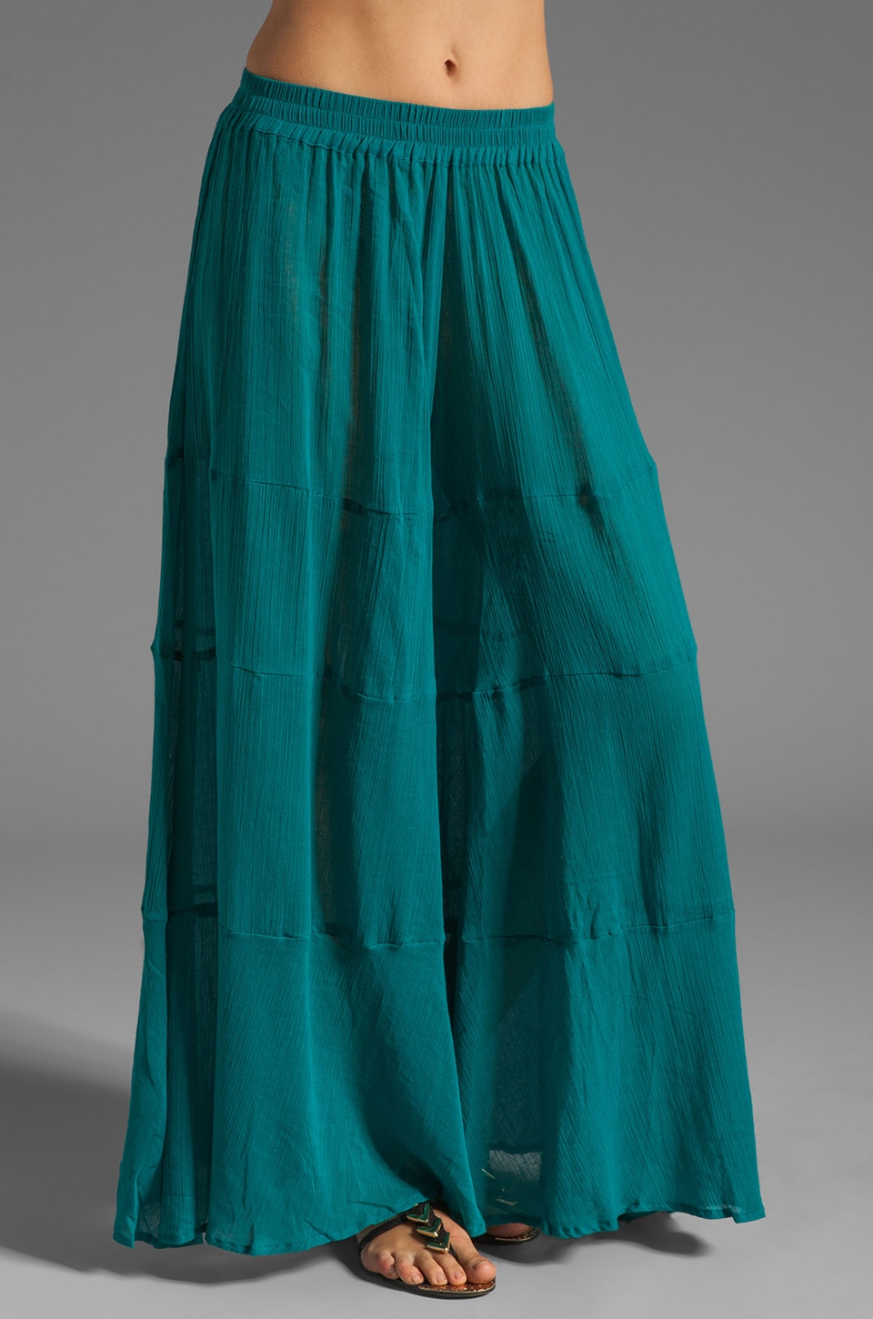 Gypsy Junkies Lola Wide Leg Linen Pant in Turquoise